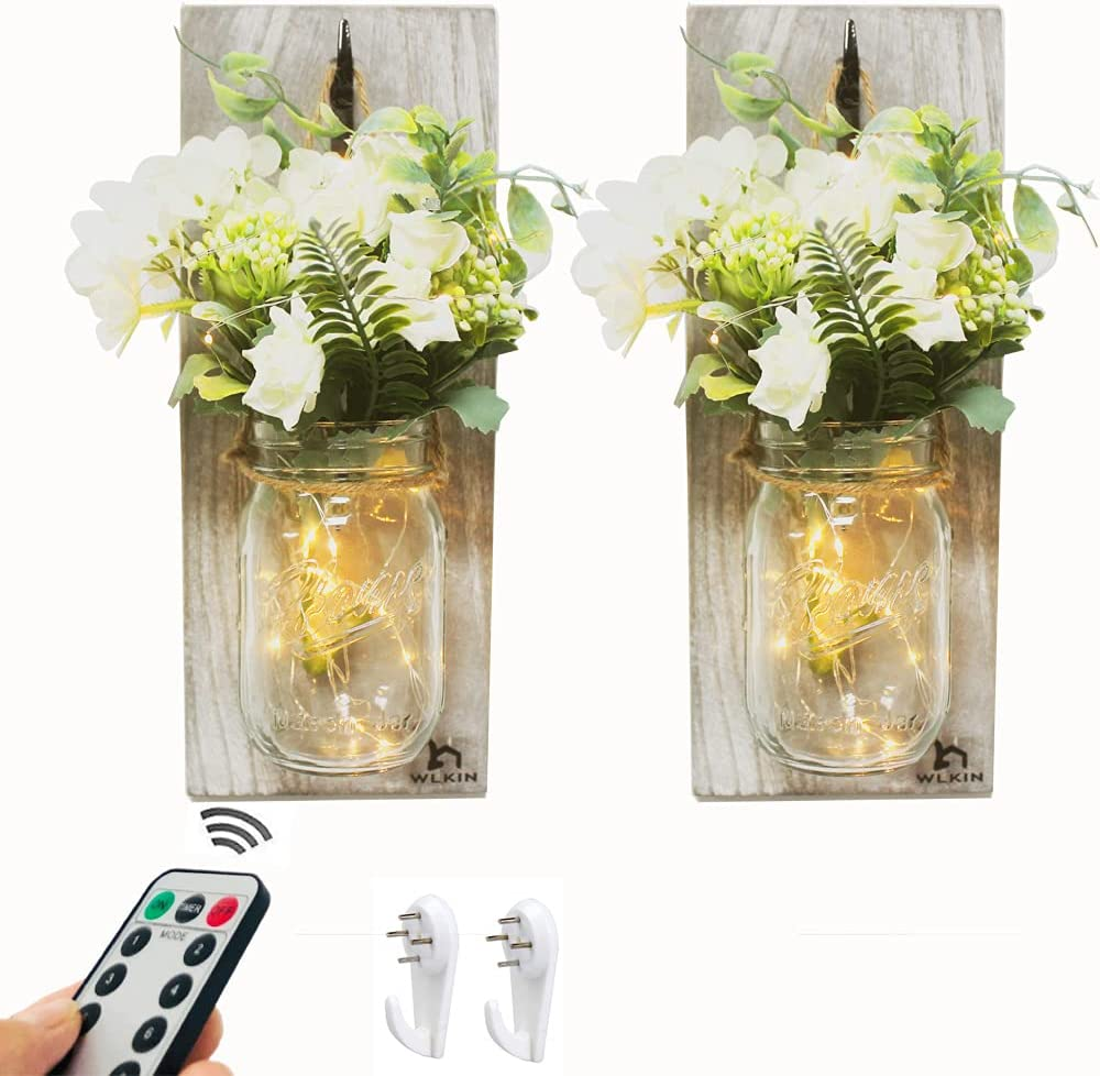 Rustic Wall Sconces-Mason Jar Sconces, Rustic Home Decor with Remote Conctrol (8 Modes) Fairy Lights and White Silk Flowers Retro Farmhouse Wall Decorations Bathroom Wall Decor(Set of 2)-Gray