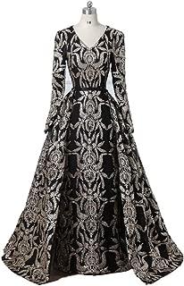 Black Dresses for Women, Evening Dress Long Black Dresses for Women, Saudi Arabian Muslim Prom Dresses Black Womens Dress for Christmas Costumes (Color : Black, US Size : 4)