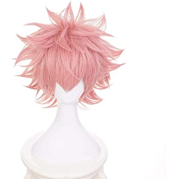 AICW Short Pink Hair Synthetic Wigs for My Hero Academia,Halloween Costume Party Wigs for Anime-Fans(Mina Ashido)