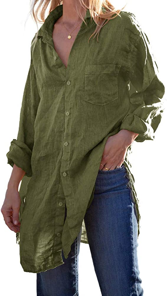 Karlywindow Womens Button Down Tunic Shirts Cotton Linen Long Sleeve Work Blouse Loose Casual Beach Cover Up Shirt
