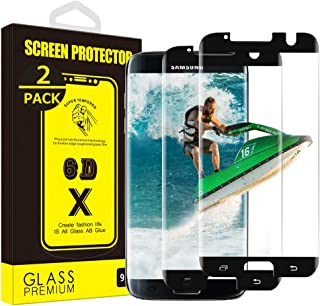 Yoyamo (2 Pack) Tempered Glass Nv11 Screen Protector for Samsung Galaxy S7 Edge, Case Friendly - Black