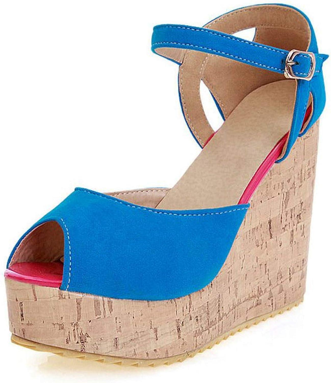 Alex Kuts Women High Heel Sandals Buckle Platform Bohemia Style Summer shoes Women Sexy Party Wedges Sandals,Black,9