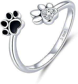 Anillos de plata esterlina para mujer, impresión de pata de perro, dedo ajustable, anillos de pulgar abiertos para niñas, ...