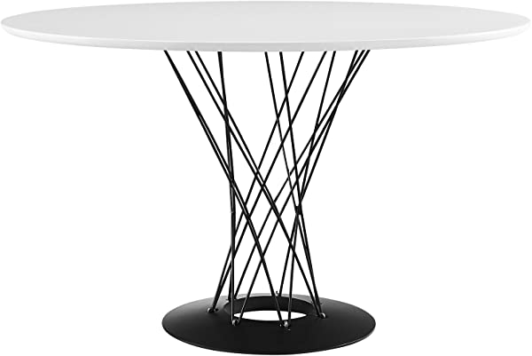 Modway Cyclone 47 Mid Century Modern Round Steel Pedestal Kitchen And Dining Table In White