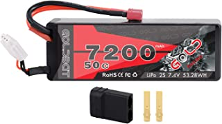 GOLDBAT 2S 7.4V 7200mAh 50C Hard Case RC LiPo Battery Pack with Deans T and TRX Plug for RC Car Vehicle Truck Tank Losi Traxxas Slash Truggy Buggy Team Associated