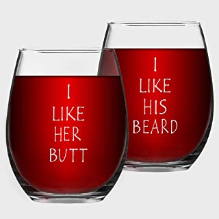 I Like His Beard, I Like Her Couples Stemless Wine Glasses, Funny Wedding Engagement Gifts for Husband Wife Bride Groom Mr and Mrs His and Hers Anniversary, 15 Oz, Set of 2