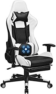 Giantex Massage Gaming Chair Adjustable High Back Computer Racing Seat with Health Massager Lumbar Support, Thick Memory Sponge with 360 Degree, Retractable Foot Shelf (Black & White)