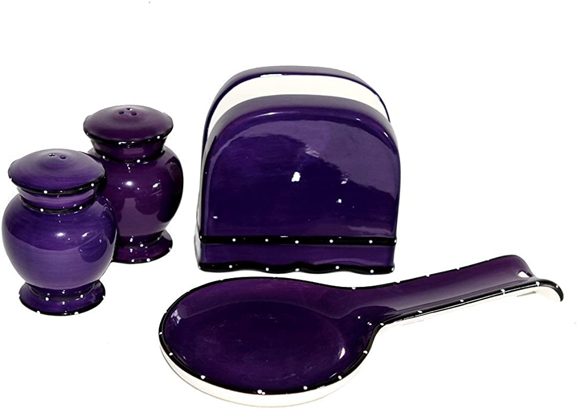 Tuscany Hand Painted Ruffle 4pc Stove Top Set Napkin Salt Pepper And Spoon Rest YOUR CHOICE OF COLOR By ACK PURPLE