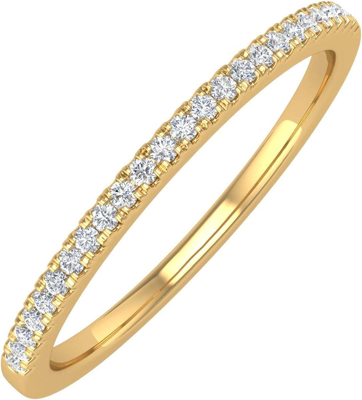 1/10 Carat (ctw) 14K Gold Ladies Diamond Stackable Anniversary Ring