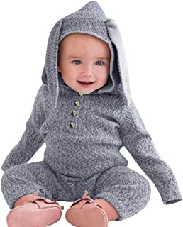 Kshion for Toddler Infant Newborn Baby Girls Boys Bunny Ears Hoodie Onesies Jumpsuit Pajamas