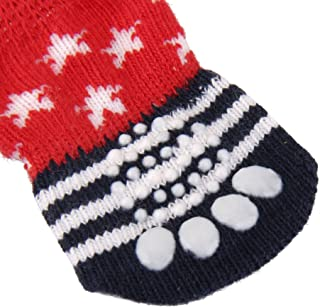 F Fityle 4 Pairs Red Black Star and Stripes Pattern Anti-Slip Dog Socks, Pet Paw Protection for Indoor Wear - Knitted Pet Dog Cat Socks Rubber Reinforcement M