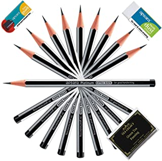Apsara Platinum Extra Dark School Pencils For Kids (20 Black Wood Cased Lead Pencils + 2 Eraser + 2 Sharpeners Bundle with TeaLegacy Sample Pack) Bold Dark Writing Artist Pencils For Office & College