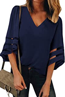 BLENCOT Womens 3/4 Bell Sleeve V Neck Lace Patchwork Blouse Casual Loose Shirt Tops