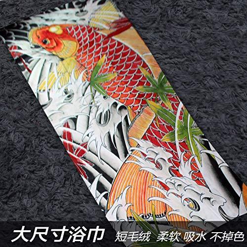 Badhanddoeken Full-Color Auspicious Brocade Carp Foto Water Absorbens Badhanddoek Tattoo Shop Speciale Vliegtuigen Airconditioning Deken Kan Versieren Sporthanddoek