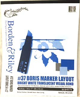 Borden and Riley 37 Boris Marker Layout Bright White Translucent Bond Pad, 14 x 17 Inches, 50 White Sheets, 1 Pad Each