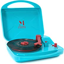 Record Player, Portable Suitcase Turntable for Vinyl Record, Belt Driven 2 Speed Stereo Turntable with Built in Speakers, Support 3.5mm AUX (Blue)