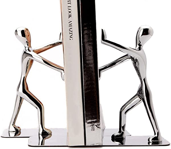 Fasmov Heavy Duty Stainless Steel Man Bookends Nonskid Bookends Art Bookend 1 Pair