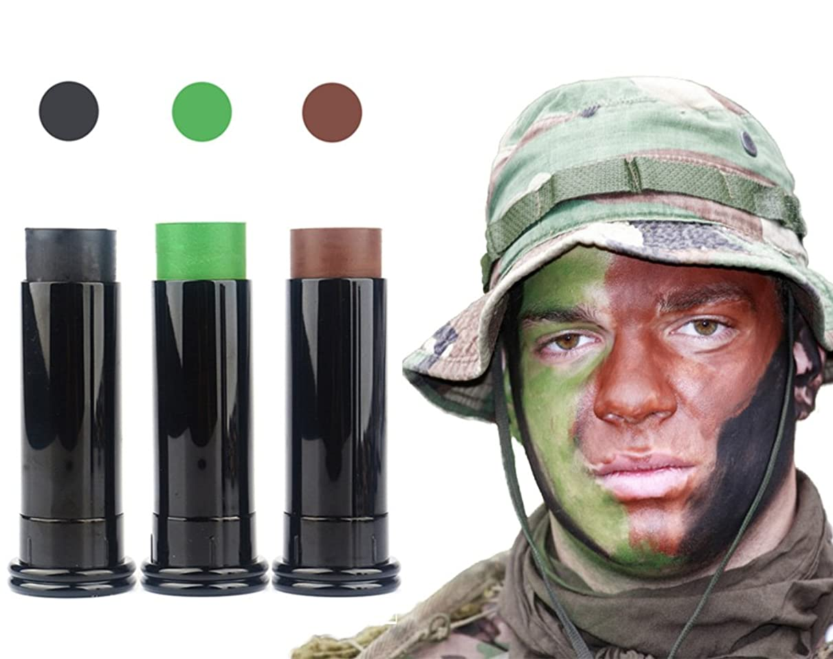 3PC Camo Face Paint Sticks - Keep Stayed On & Easy to Clean Up - Shadow Black / Hunter Green / Earth Brown