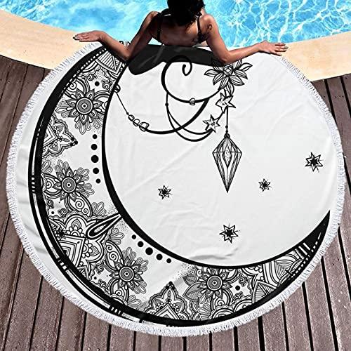 Toalla de playa con borla redonda, diseño floral y luna, figuras étnicas de astrología inspiradas en astrología, esterilla de yoga, tapiz, mantel de picnic, tela de 120 cm
