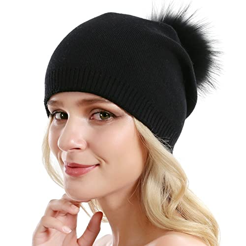 8a18d9fad11 Women Knit Wool Beanie - Winter Solid Cashmere Ski Hats Real Raccoon Fur  Pom Pom
