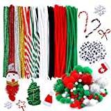 Caydo 350 Pieces Pipe Cleaners Set, Including 120 Pieces Pipe Cleaners, 6 Size Pom Poms and 4 Size Wiggle Eyes for Craft DIY Art Supplies