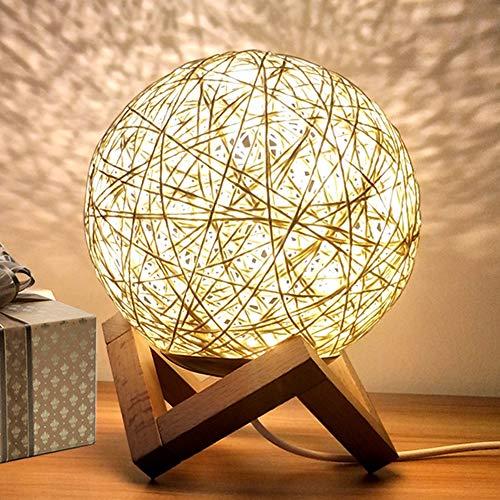Nordisch Schreibtischlampe, Rattan Nachttischlampe, Kreativ Holzbasis Mond Nachtlicht für Kinderzimmer Geschenk (Gelb, Schalter)