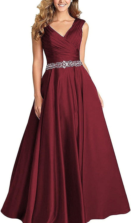 LISA.MOON Women's V Neck Satin Zipper Back ALine Sleeveless Beaded Prom Dresses