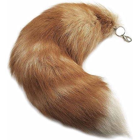 Juxiangge Pendentif queue de renard d'environ 40 cm - Marron - Fourrure avec porte-clés - Extra large - Poche supplémentaire - Porte-clés de voiture - Doux et dense - Décoration