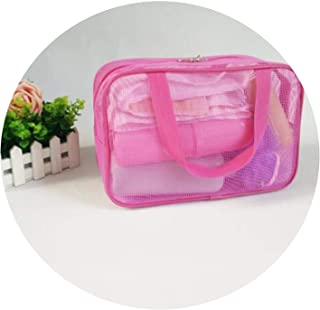 Transparent Women's Lady Mesh Multifunctional Portable Gym Swimming Bathe Travel Storage Handbag Totes Bag 4 Colors,Rose M