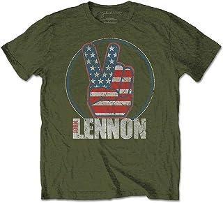 John Lennon Peace Fingers Us Flag T-Shirt Homme