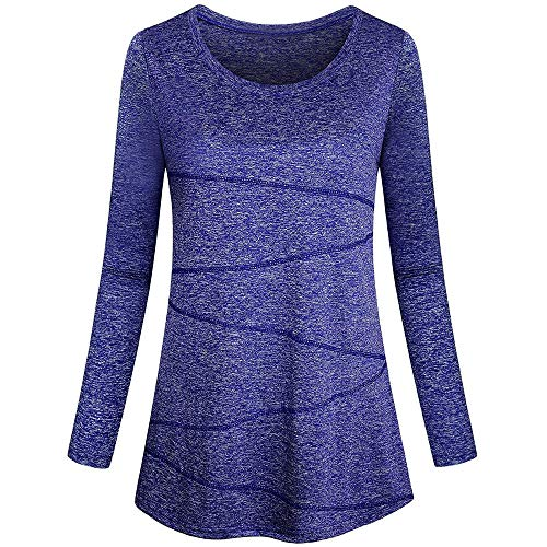 VEMOW Sommer Herbst Elegante Damen Knopf Langarm T-Shirts Casual Täglichen Party Strand Workout Lose Tops Tunika Bluse(Y1-Blau, 42 DE/M CN)