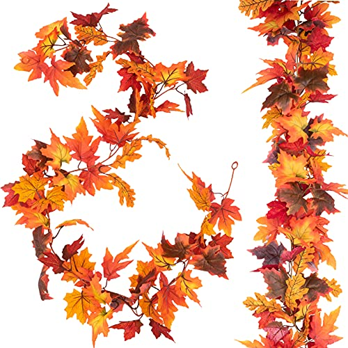 joybest 2 Pcs Artificial Autumn Fall Maple Leaves Garland 5.9ft Fall Hanging...