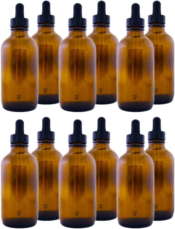 Amber Glass Bottle 4oz New York Mall 12 with Dropper service pack