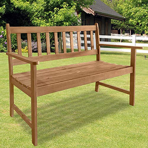 Patio Wood Bench Park Garden Outdoor Bench with Armrests Sturdy Acacia Wood Front Porch Chair, 705Lbs Weight Capacity, for Park Yard Patio Deck Balcony Lawn Decor, Natural Oiled