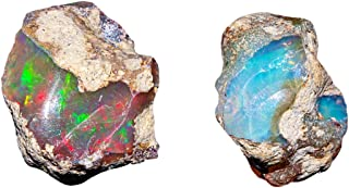 Jaguar Gems AA+ Natural Ethiopian Welo Opal Rough Stone, Raw Crystal, Jewelry Making Gemstone, Ultra Fire Striking Opal, Rare Opal Rock, October Birthstone, Good Luck Stone - Pack of 2 (I)