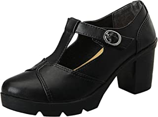 Women's British Style T-Bar Platform Heeled Oxford Shoes Work Shoes