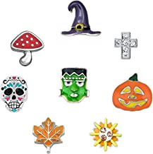Corykeyes 8pcs Halloween Skull Floating Charms Set For Glass Living Memory Locket Necklace