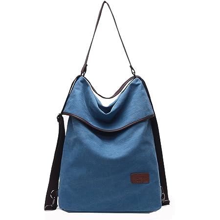 Travistar Damen Canvas Schultertasche Rucksack Groß Handtasche Vintage Damen umhängetasche Anti Diebstahl Tasche Damen Hobo Tasche für Alltag Büro Schule Ausflug Einkauf (Blau)