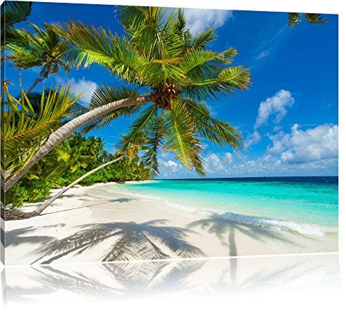 Palmenstrand Bild auf Leinwand, XXL riesige Bilder fertig gerahmt mit Keilrahmen, Kunstdruck auf Wandbild mit Rahmen, guenstiger als Gemaelde oder Bild, kein Poster oder Plakat, Format:120x80 cm