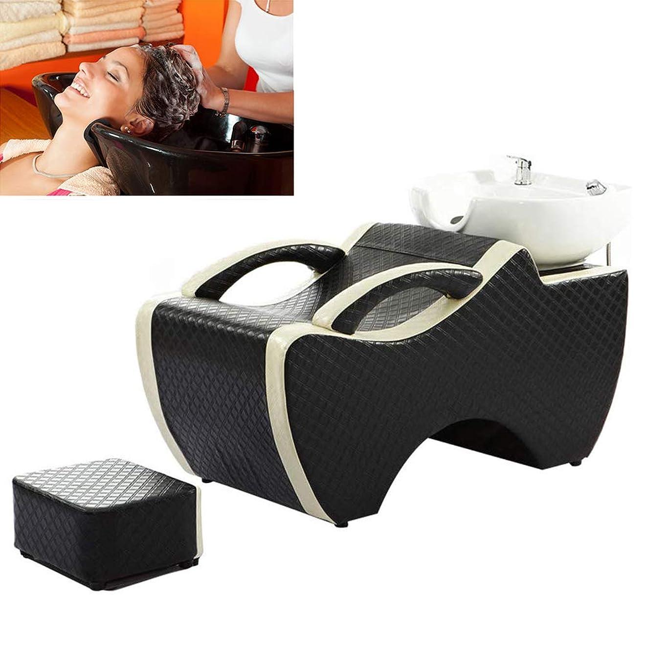 金曜日神経障害摘むサロン用シャンプー椅子とボウル、スパ美容院のベッドの陶磁器の洗面器のための逆洗の単位のシャンプーボールの理髪の流しの椅子