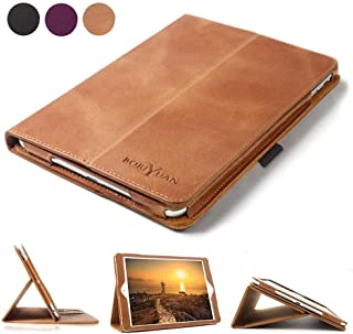 Boriyuan Leather Case Compatible for iPad 9.7 2018(6th Gen)/2017(5th Gen)/iPad Pro 9.7/iPad Air 2 &1- Leather Smart Cover Protective Folio Flip Stand with Pencil Holder Magnetic Auto Sleep/Wake(Brown)