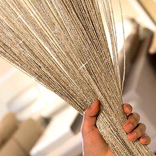 Wrighteu Fadenvorhang für Türen, Fenster, Perlen, Spaghetti-Fadenvorhang, wasserdicht, Trennwand, Fenster, Tür, Fliegengitter, 100 x 200 cm Champage