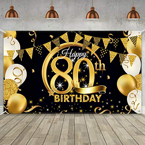 Extra Large Fabric Black Gold Banner or Backdrop