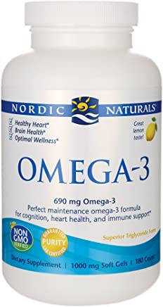 Nordic Naturals Omega-3 Soft Gels - Omega-3 Essential Fatty Acids Aid in Cognition, Heart Health, and Immune Support, Lemon Flavor, 180 Count