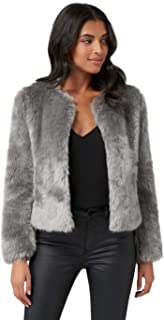Ever New Womens Angel Cropped Fur Coat