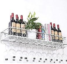 HTTJJ Metal Wine Rack Wall Mount, Wine Bottle Holder Glasses Stemware Hanger Shelf, Rustic Wine Storage Shelf Home & Kitch...