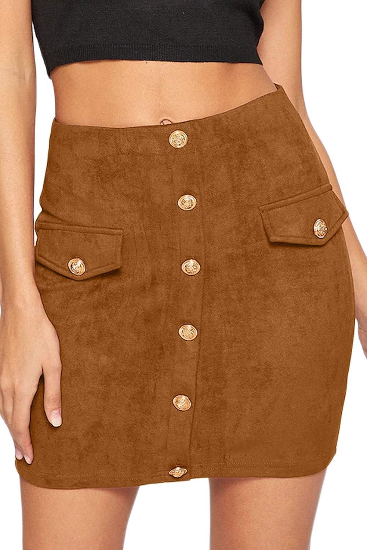 Meyeeka Women's Button Down Faux Suede High Waist A-line Mini Skirt with Pockets
