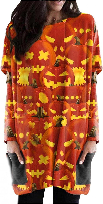 felwors Halloween Sweatshirt for Women, Womens Pumpkin Print Casual Long Sleeve Shirts with Pocket Oversized Tunic Tops
