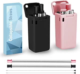 2 Pack Reusable Stainless Steel Folding Drinking Straws Keychain Foldable Food-Grade Portable Set with Storage Case Holder Cleaning Brush for Travel Household Outdoor LEADSTAR Collapsible Straws