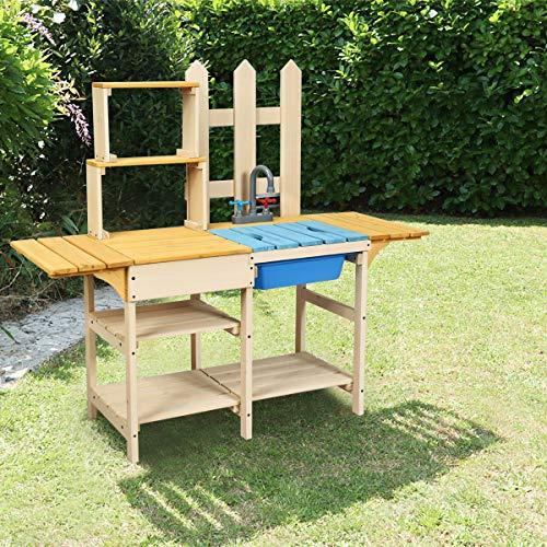 COSTWAY Matschküche mit Wasserhahn, Kinderküche, Outdoor Küche, Holzküche, Spielküche - 2
